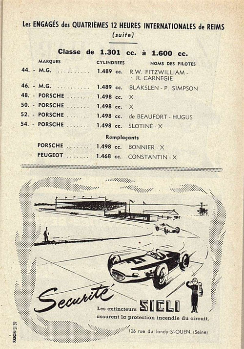 1957 Reims 12 Hours class entry list
